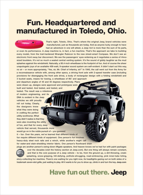 Jeep : Toledo : Single Page Ad